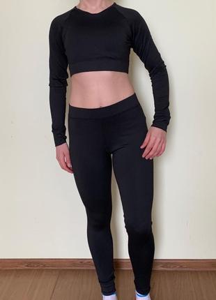 Спортивний костюм, лосини, легінси, спортивна кофта, топ з довгими рукавами
