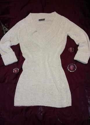 Персиковый удлиненный свитер, кофта, рукав ниже локтя principles petite м-ка