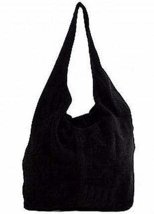 Замшевая черная сумка на одной ручке monica италия разные цвета