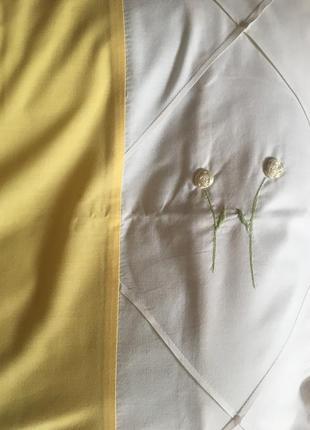 Светлый, солнечный двухспальный комплект белья, жёлтый с белым