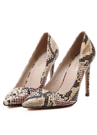 Туфли-лодочки, змеиный принт, 38 размер, стелька 25 см