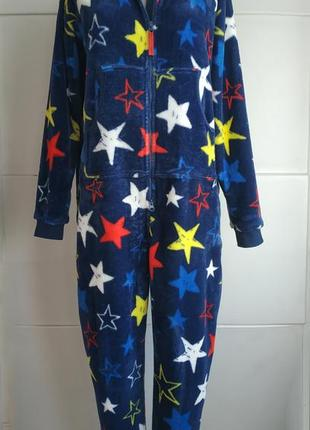 Чудесный теплый комбинезон пижама кигуруми marks& spencer принт звезды