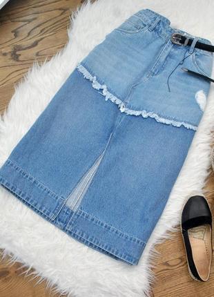 Оригінальна юбка-міді з розрізом
