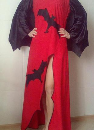 Карнавальное платье летучая мышь,костюм женский на хэллоуин м-л