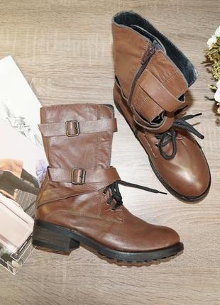 (36р./23,5см) oxbo! кожа! италия! комфортные стильные ботинки с золотым напылением
