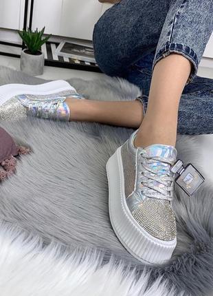 Серебристые кроссовки на платформе , серебристые кеды сетка, серебристые криперы.