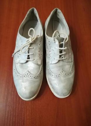 Туфли броги мраморные серебро белый