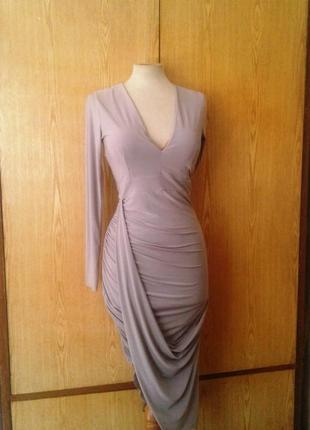 Серое струящееся платье , s- m.