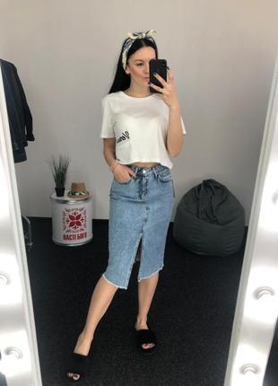 Джинсовая юбка высокая посадка винтаж миди