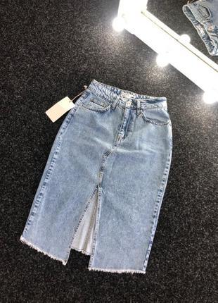 Джинсовая юбка высокая посадка винтаж миди4 фото