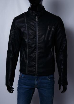 Куртка мужская демисезонная кожзам gs 067741 черная