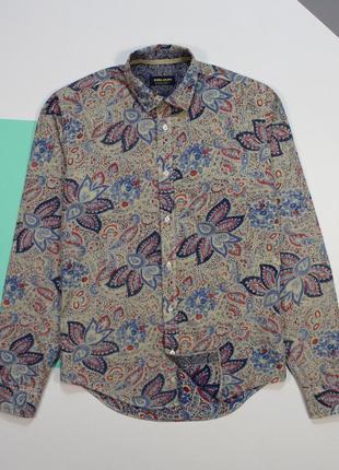 Интересная приталенная рубашка с принтом на выворот от zara man