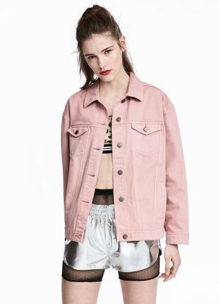 Скидка! крутая актуальная джинсовая куртка оверсайз нежно-розовый цвет от divided by h&m