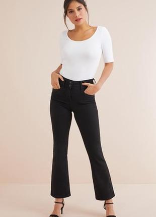 Черные джинсы-клёш с завышенной талией/bootcut