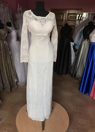 Эффектное свадебное/ выпускное платье с открытой спиной