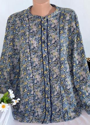 Брендовая коттоновая блуза с длинным рукавом next индия принт цветы большой размер