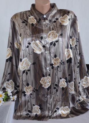 Брендовая атласная блуза с длинным рукавом принт цветы большой размер