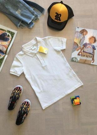 Белоснежная футболка поло, размеры 110-170, финляндия