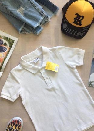 Белоснежная футболка поло, размеры 110-170, финляндия4 фото