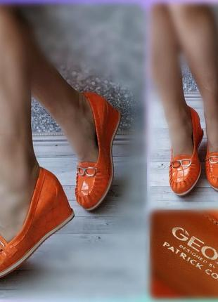 40р кожа!новые geox by patrick cox италия,оранжевые,неоновыетуфли лоферы на танкетке