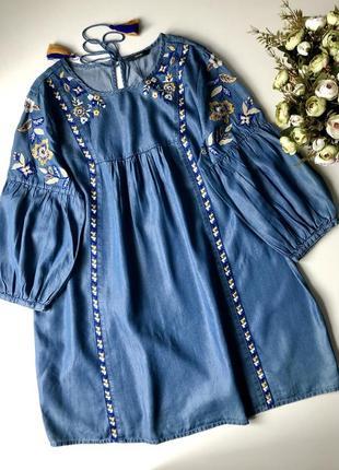 Джинсовое платье george с вышивкой. размер л-хл (16) новое. состав 62 коттон 38 лиоцил