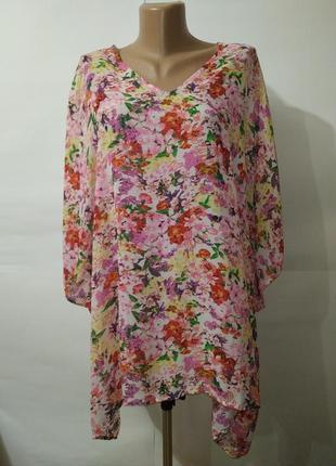 Цветочная блуза туника свободного кроя кимоно uk 12-14/40-42/m
