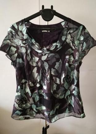 Шикарная блуза большой размер шелк uk 20/48/xxxl