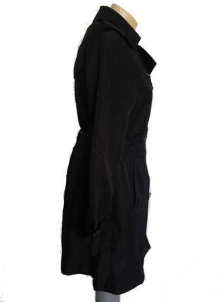 Трендовый черный двубортный плащ тренч zara с теплой подстежкой р.m2 фото