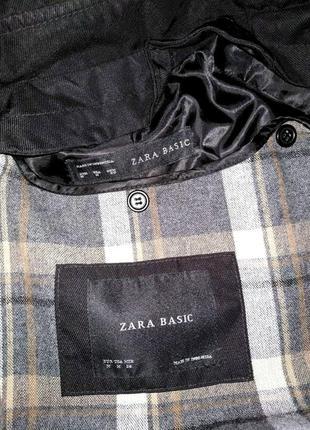 Трендовый черный двубортный плащ тренч zara с теплой подстежкой р.m5 фото