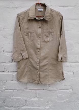 Отличная бежевая льняная рубашка biaggini