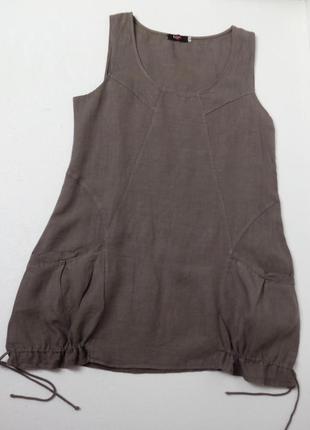 Итальянская льняная блуза туника большого размера.
