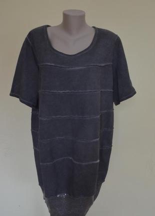 Стильная итальянская туника-платье из котона темно-серого цвета,свободного фасона