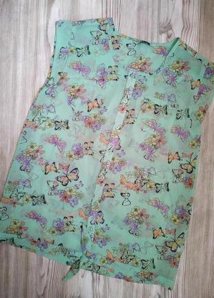 Блуза*блузка*без рукавов*с принтом*13-14 лет