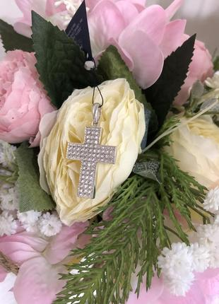 😍💎красивый серебряный аксессуарный крест в россыпь камней серебро 925 пробы