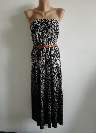 👑трендовый сарафан открытые плечи с леопардовым принтом 👑 ярусное платье  с градиентом