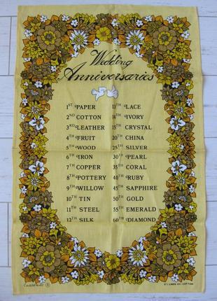 """Полотенце кухонное """"свадебные годовщины""""."""