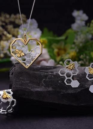 """Тренд сезона! модный набор, комплект, серебро + золото """"медовые соты"""" кольцо в подарок"""