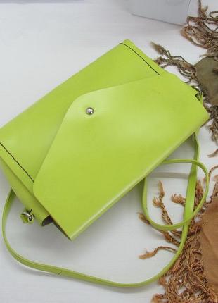 Яркая трендовая сумка кроссбоди zara, натуральная кожа