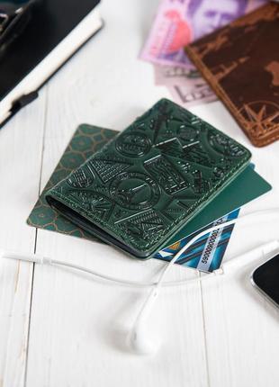 "Обложка для документов (id паспорт )/карт hi art ad-03 crystal green ""let's go travel"""