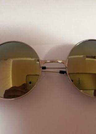 Распродажа молодежные стильные солнцезащитные зеркальные синие круглые очки1 фото