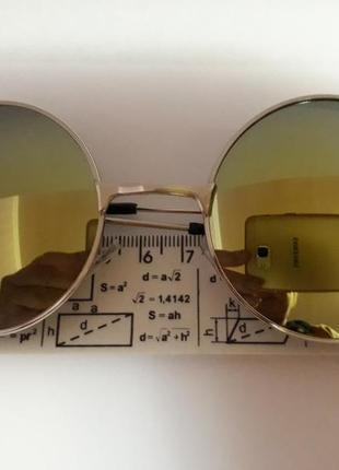 Распродажа молодежные стильные солнцезащитные зеркальные синие круглые очки2 фото