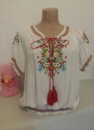 Шикарная блузка вышиванка реглан хлопок фабричная