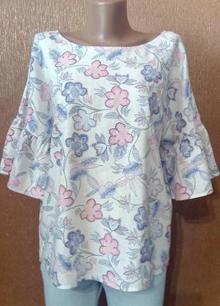 Блузка летняя свободная цветочный принт 55%лён оверзайз размер 10-12 george