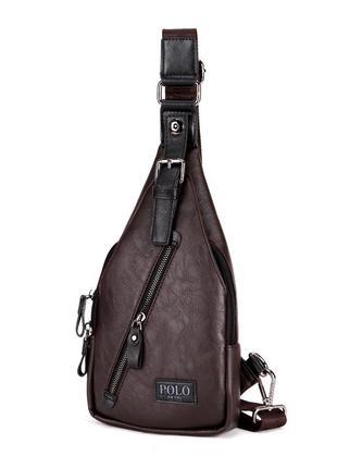 Мужская сумка мессенджер, бананка через плечо v9903 коричневая