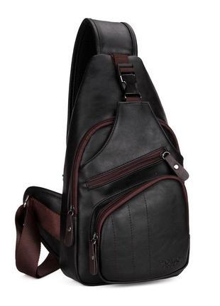 Мужская сумка мессенджер, бананка через плечо v9907 черная