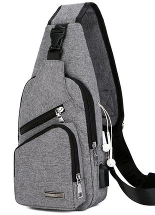 Мужская сумка мессенджер, бананка через плечо v9923 серая