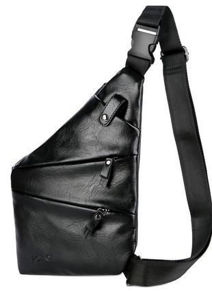 Мужская сумка мессенджер, бананка через плечо v9926 черная