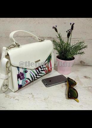 Женская сумка через плечо с цветочный принтом от david jones g-9126-1 белая