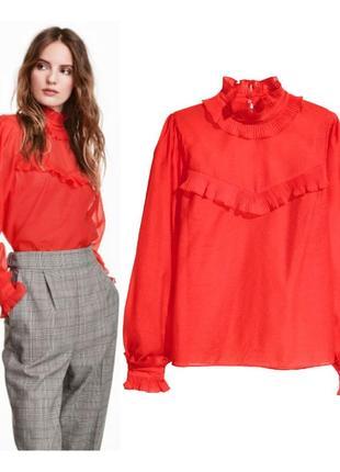 Красная полупрозрачная блуза