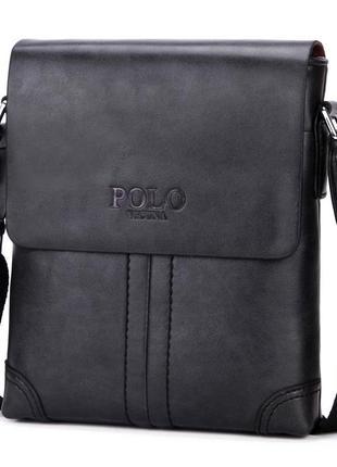 Мужская сумка мессенджер, барсетка через плечо v8807 черная